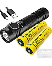 NITECORE E4K 4400 Lumen EDC Flashlight with 2x 5000mAh USB-C Rechargeable Battery and LumenTac Organizer