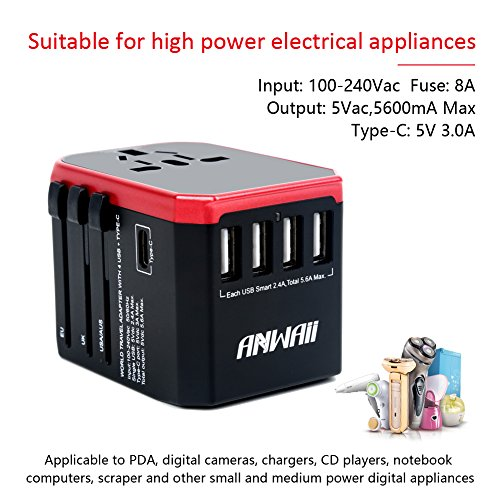 Universal Travel Adapter- Anwaii International Travel Plug Adapter- Worldwide Charging Adapter- 5.6A 5 USB 3.0A Type-C Ports for Phone Laptop Hair Dryer works in EU, UK, US and more than 150 Countries