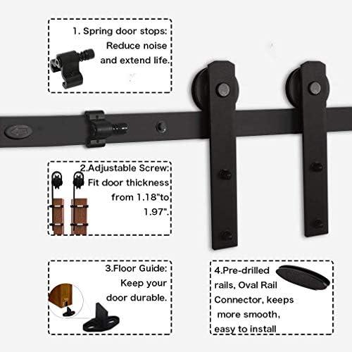 Juego de herramientas para puerta corredera de granero de 2 m para puerta de madera individual (distancia del agujero-16 pulgadas): Amazon.es: Bricolaje y herramientas