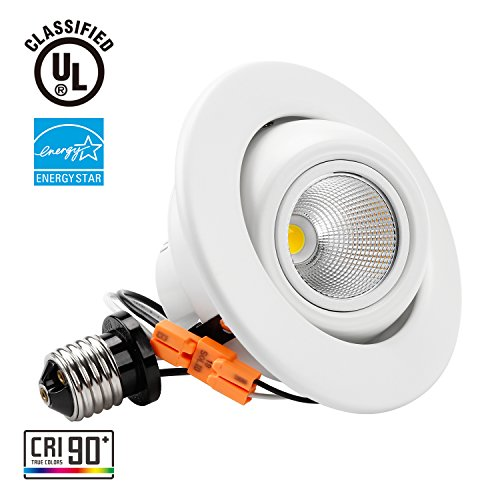 TORCHSTAR High CRI90+ 4 inch Dimmable Gimbal Recessed LED Downlight, 10W (75W Equiv.), ENERGY STAR, 5000K Daylight, 800lm, Adjustable LED Retrofit Lighting Fixture, 3 YEARS WARRANTY
