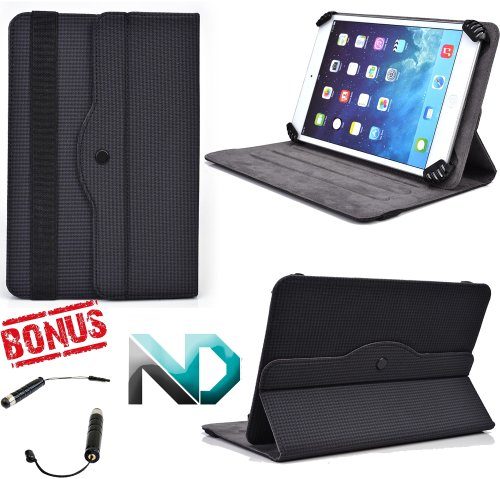 *Exclusive* Tablet Case / Rotational fits Onyx M92 / Universal for most 8-10 inch Devices [Black Carbon] + Bonus NextDia Stylus