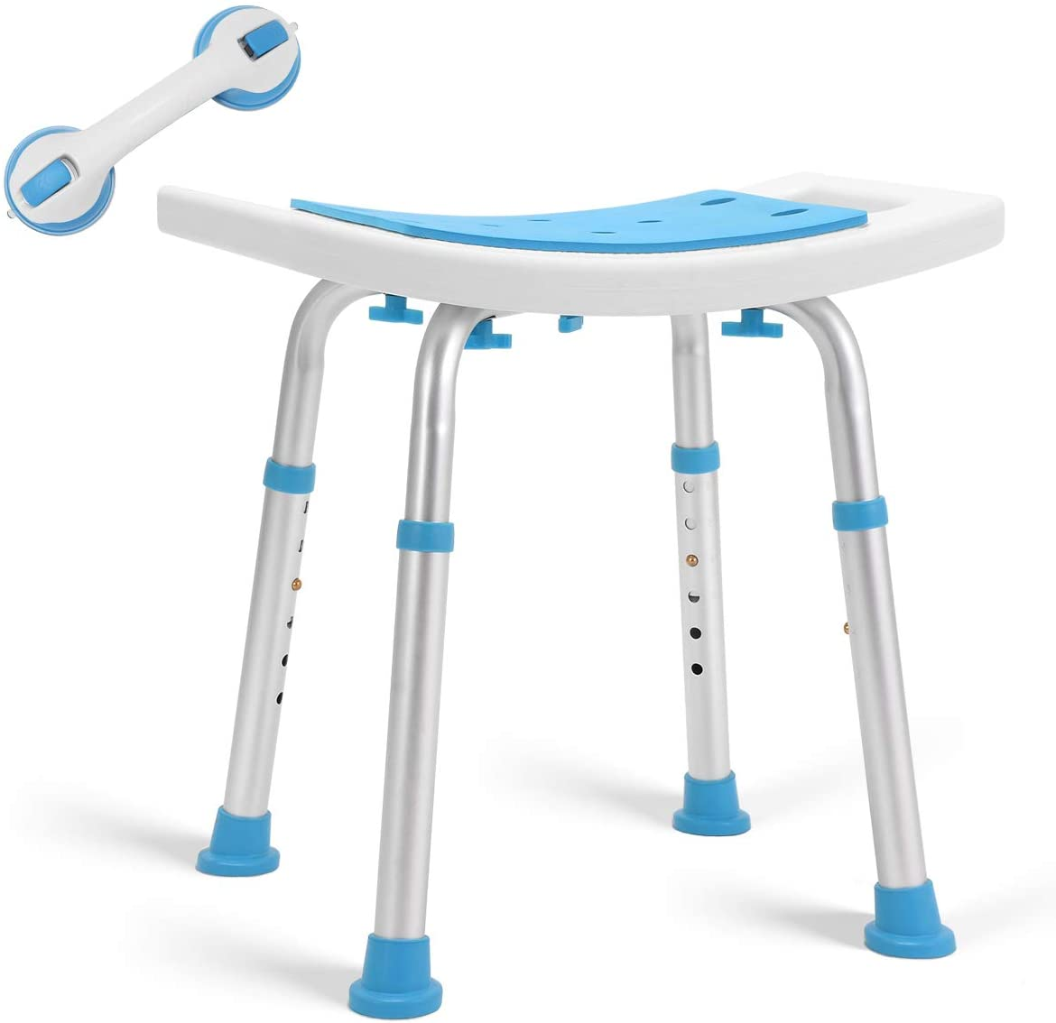 2020 Upgraded Shower Stool 350lbs Paded Bath Seat Chair, Tool-Free Assembly Height Adjustable Bath Bench w/Paded Seat and Assist Grab Bar for Seniors, Elderly, Disabled, Handicap and Injured: Health & Personal Care