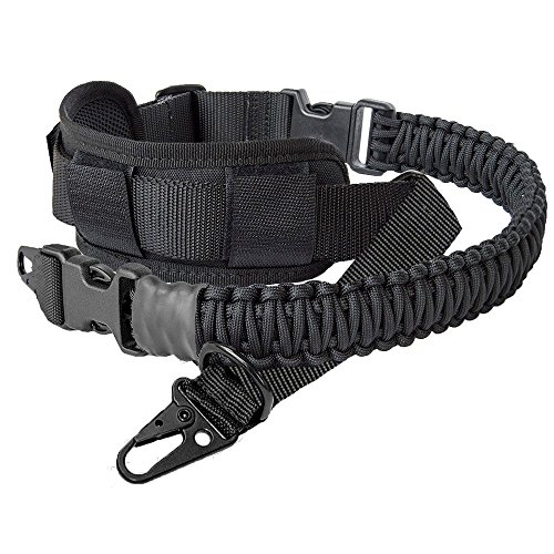 LANHE TACTICAL 550 Paracord 2 Point Rifle Sling Gun Strap with Shoulder Pad Adjustable Two Point Sling (HK style Clip)
