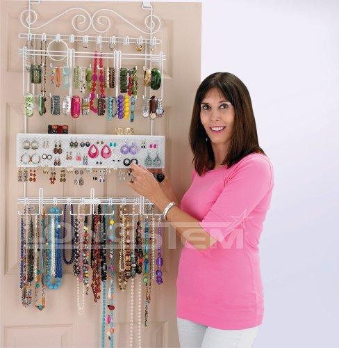 Amazon.comOverdoor/Wall Jewelry Organizer in White By Longstem