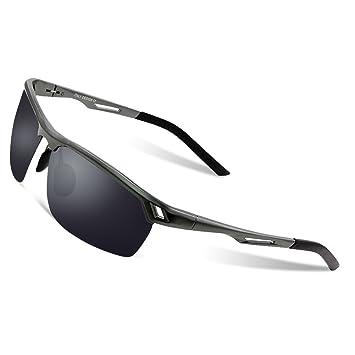 DUCO Herren Sport Stil Polarisierte Sonnenbrille Metallrahmen Brille 8550, Gunmetal/Grau