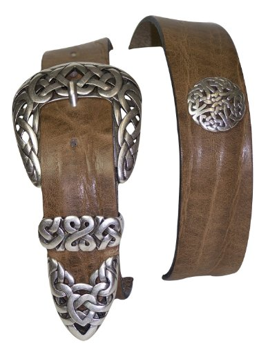 FRONHOFER belt designer floral silver buckle ECO leather summer colors, Size:waist size 41.5 IN XL EU 105 cm, Color:Taupe/grey by Fronhofer