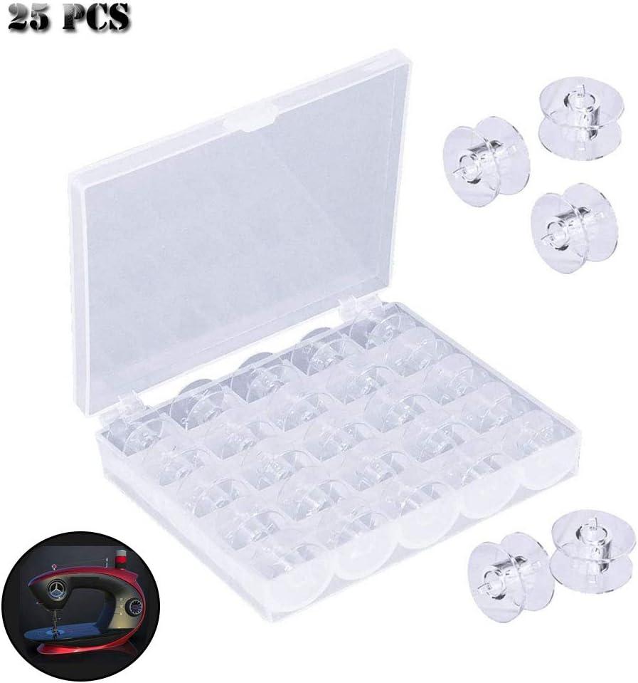 Gsyamh Transparente Bobinas de Hilo con Caja Canillas Carretes de Máquinas de Coser Plásticos Carretes de Máquinas De Coser Adecuado para la Mayoría de Máquinas de Coser Estándar Domésticas(25 piezas): Amazon.es: Hogar