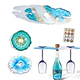 Amovoi Wine Rack and Glass Holder Resin Mold, Geode Coaster Molds for Resin Casting, Silicone Wine Butler Epoxy Molds with 4 Color Gilding Foil Flakes