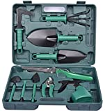 Garden Tools Set, 10 Pieces Gardening Gifts Tool Set Gifts with Garden Trowel Shovels Fork Rake Pruners and More, Vegetable Herb Garden Hand Tools with Storage Case Bag for Men & Women (Green)