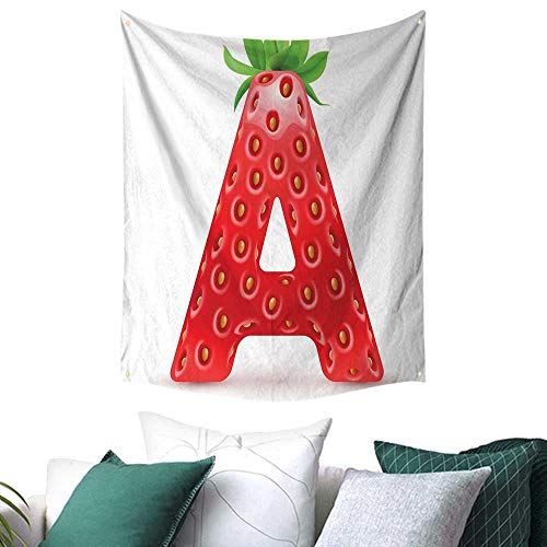 - Letter A Tapestry for Bedroom Letter A in Strawberry Style with Green Leaves Alphabet Fun Food Theme Festival Flags 60W x 91L INCH Vermilion Green Orange