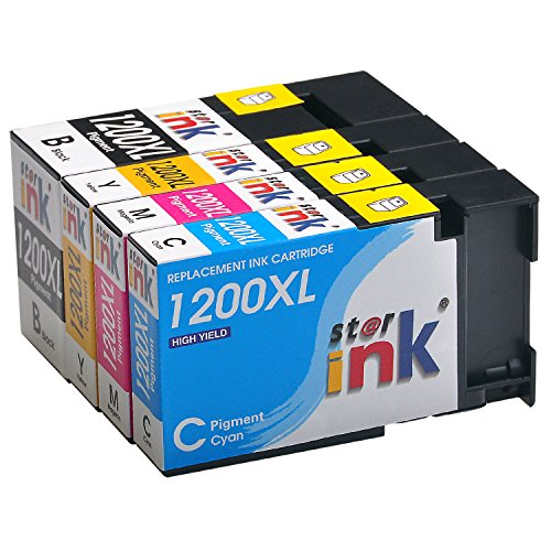 Starink 4 Pack PGI-1200XL Compatible Ink Cartridge, High Yield PGI 1200XL 1200 XL Replacement Pigment Ink for Maxify MB2320, MB2020, MB2120, MB2720 Inkjet Printer(1 Black, 1 Cyan, 1 Magenta, 1 Yellow)