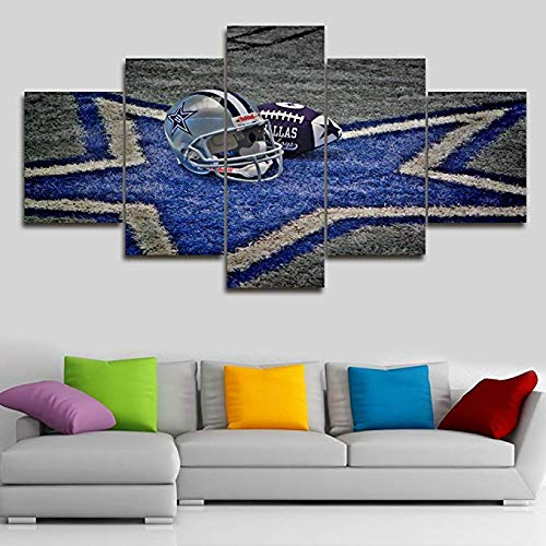 Cowboy Framed Canvas - 5 Piece Canvas Wall Art NFL Sports Dallas Cowboys Paintings Home Decor NFL Prints on Canvas,5 Panel Modern Artwork Giclee Picture for Living Room,Wooden Framed Stretched Ready to Hang(60''Wx32''H)