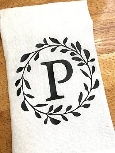 (Monogrammed Kitchen Towel - Personalized Laurel Monogram Wedding Gift for the Couple)