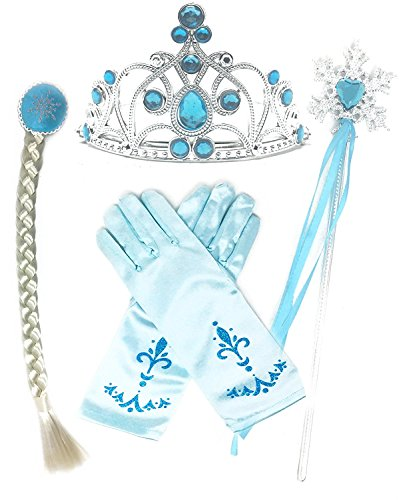 Cinderella Hair (Princess Dress up Party Accessories - 3 Piece Set: Gloves, Tiara and Wand (Light Blue Hair Braid))