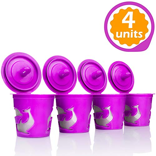 4 Reusable Refillable K Cup Coffee Filters Accessories for Keurig 2.0 K200, K250, K300, K350, K400, K450, K460, K500, K550, K560 and all 1.0 Brewers  (Gasket Pre Rinse)