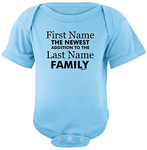 Personalized Baby Clothes Personalized New Baby Name Family Custom Bodysuit Newborn Light Blue