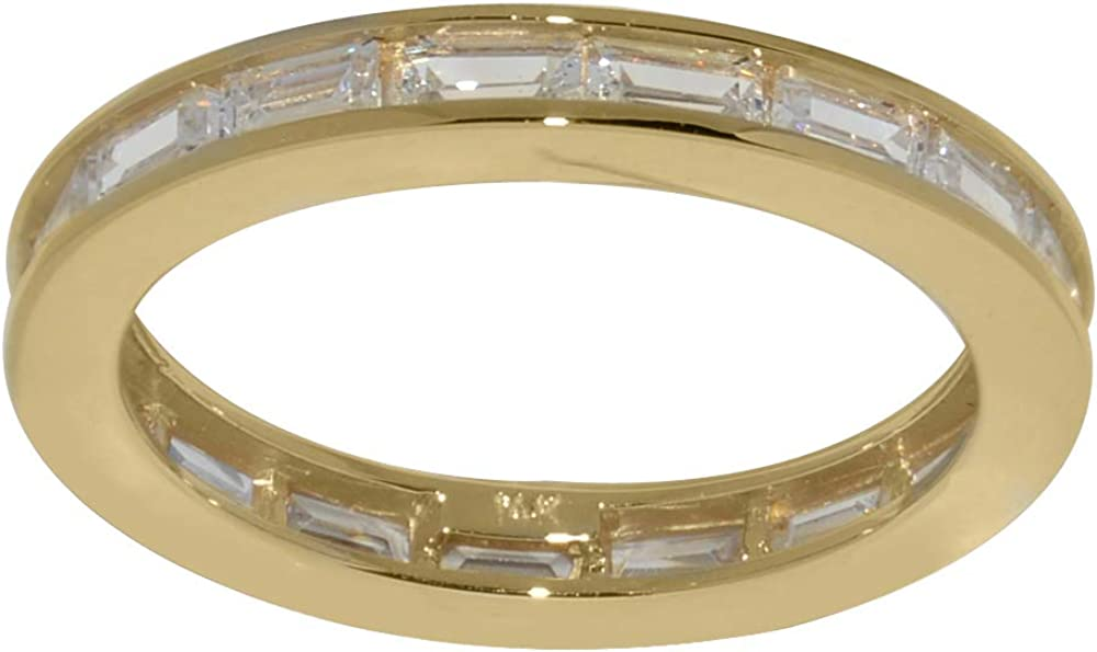 Precious Stars Jewelry 14k Yellow Gold Channel-Set Baguette Cubic Zirconia Eternity Band