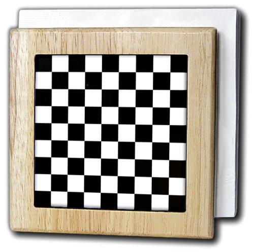InspirationzStoreパターン – ブラックandホワイトチェックパターン – Checkered Checked SquaresチェスチェッカーボードまたはRacing Car Race Flag – タイルナプキンホルダー 6