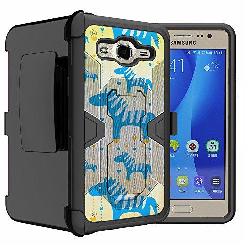 Untouchble Case for Samsung Galaxy ON5, Samsung G550 Case [Mystic Defense] Case Dual Layer Holster Belt Clip Kickstand Case Combo - Blue Zebra