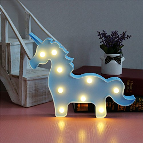 t Light for Girls Bedroom,Unicorn Party Supplies Fantasy Themed Décor Marquee Light, Gift for Child Kids (Blue) (Horse Party Lights)