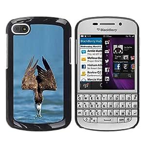YOYOYO Smartphone Protección Defender Duro Negro Funda Imagen Diseño Carcasa Tapa Case Skin Cover Para BlackBerry Q10 - mar la libertad águila pájaro verano presa