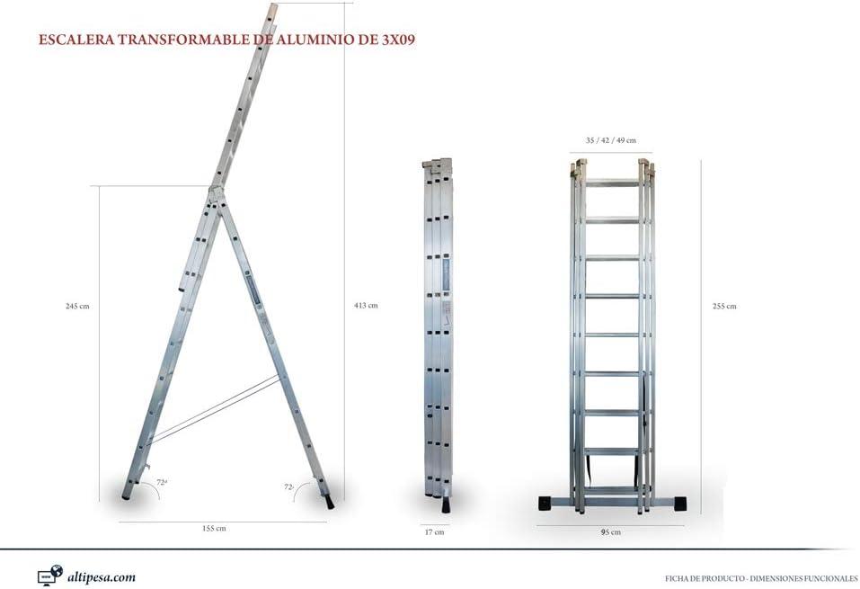 ALTIPESA Escalera Profesional de Aluminio Triple Tijera un Acceso con Tramo Extensible 3 x 9 peldaños Serie Triple: Amazon.es: Hogar