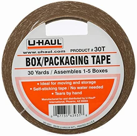 U-Haul Moving Box Paper Tape (Ideal for Moving Packing Storage Boxes) - 30 Yard Roll - Easily Tears by Hand