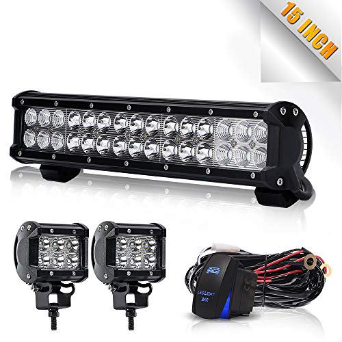 TURBO SII 14 inch Led Work Light Bar 90w Spot Flood Combo Beam Off-road Light bar with 4Inch Led Work Light&3 lead Wirng Harness Kit For Jeep Tractor Boat Off-Road SUV ATV Truck (Turbo 800 Kit)