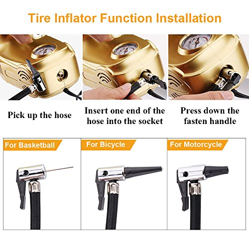 4 In 1 Car Vacuum Cleaner Tire Inflator Tire Pressure Gauge With Bright Led Light Napoer High Power Portable Handheld Vacuum For Car WetDry 12V 120W164Foot5MPower Cord With Carry Bag