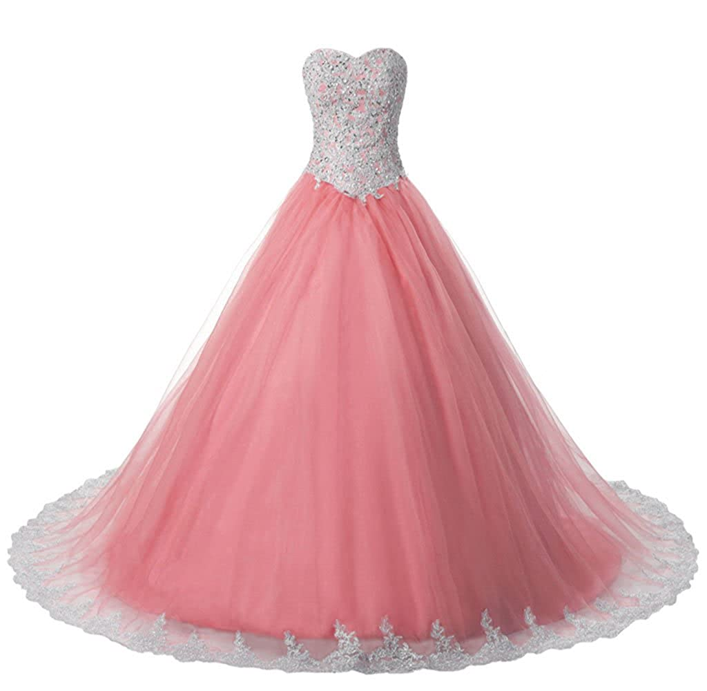 Coral Vantexi Women's Lace Tulle Formal Evening Quinceanera Dress Prom Gown