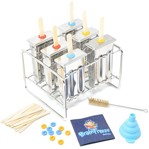 Stainless Steel Popsicle Molds (18-8 - 304) with Standing Rack (6) Ice Lolly Pops Homemade Frozen Treat Maker with Reusable Bamboo Sticks, Gel Seals, Cleaning Brush, Funnel and Recipe Book by iHard