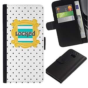 For HTC One M8 Case , Text Teal Gold Polka Dot Pattern - la tarjeta de Crédito Slots PU Funda de cuero Monedero caso cubierta de piel