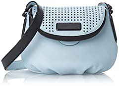 A luxe Marc by Marc Jacobs bag in a mix of pebbled and perforated leather. The magnetic top flap has a polished logo plaque and wraparound zip pocket. Lined, 3-pocket interior. Adjustable shoulder strap. Dust bag included.