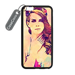 CASECOCO(TM) Favorite Singer Lana Del Rey iPhone 6 Plus Case - Protective Hard Back / Black Rubber Sides Case for iPhone 6 Plus (5.5-inch) by mcsharks