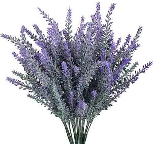 4x Bouquet de Fleurs Artificielle Lavande Bouquet de fleurs art Fleurs Plantes Violet