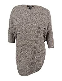Style & Co. Womens Plus Cable Knit Heathered Cape Sweater Gray 2X/3X