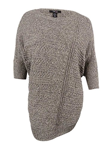 Style & Co. Womens Plus Cable Knit Heathered Cape Sweater Gray 2X/3X by Style & Co.