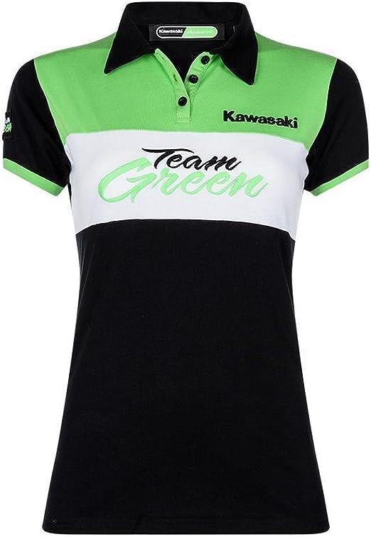 Kawasaki - Polo - Cuello de Polo - para Mujer Schwarz Grün Weiß X ...