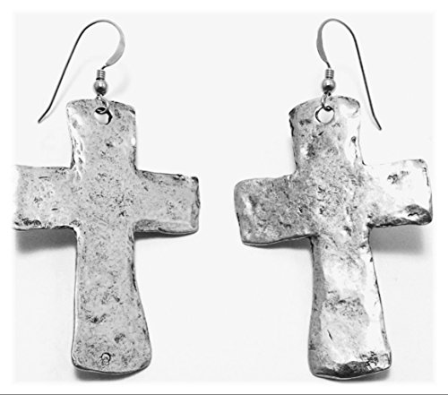 Pewter Large Hammered Cross Charms on Hypoallergenic Ear Wire Dangle Earrings 5014