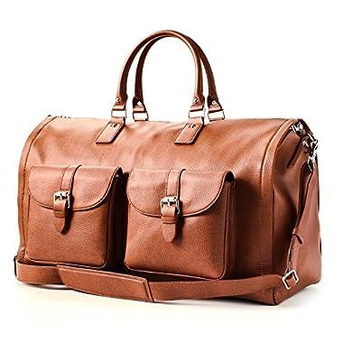Hook and Albert Men's All Leather Garment Weekender Bag, Brown