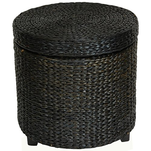 Oriental Furniture Rush Grass Storage Footstool - Black