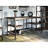 Writing Desk with Multiple Shelves and Castered Wheels in Ash Veneer and Black Finish