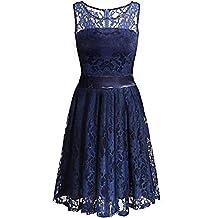 ANGVNS Evening Dress Sleeveless Bridesmaids Floral Lace Cocktail Dress
