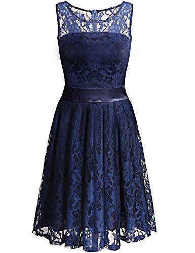 Lace Neck Beyove Sleeveless Dress O Short Blue Floral Bridesmaids Women's Prom Dark Dress Dress 1pBxBwqE