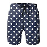 Men's Summer Beachwear Quick Dry Board Shorts Casual Athletic Beach Surfing Shorts For Polka Dot Navy Pattern