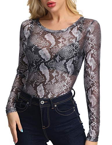 Womens Glitter See Through Mesh T Shirt Top Long Sleeve Blouse Clubwear Snake L