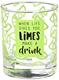 Livin' on the Wedge Limes or Lemons When Life Gives You Limes Make A Drink Lime Wedge Patterned Whiskey Glass, 10 oz, Green