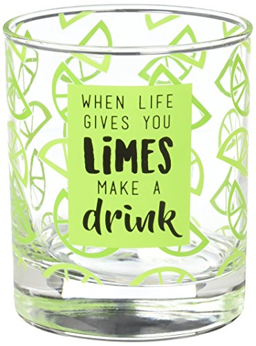Livin' on the Wedge Limes or Lemons When Life Gives You Limes Make A Drink Lime Wedge Patterned Whiskey Glass, 10 oz, Green]()