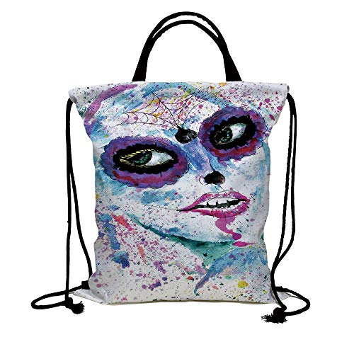 3D Print Drawstring Bag String Backpack,Girls,Grunge Halloween Lady with Sugar Skull Make Up Creepy Dead Face Gothic Woman Artsy,Blue Purple,for Travel Gym School Beach -