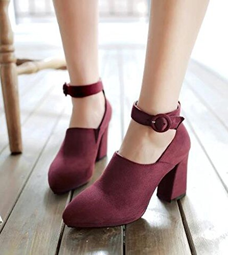 CHFSO Womens Fashion Solid Suede Buckle Ankle Strap Pointed Toe High Block Heel Platform Dress Pumps Shoes Red Ah5ZEjHP